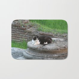 Archaeologist Cat Resting on a Roman Column Bath Mat