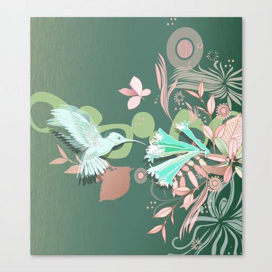 Hummingbird leaf tangle, green pale pink Canvas Print
