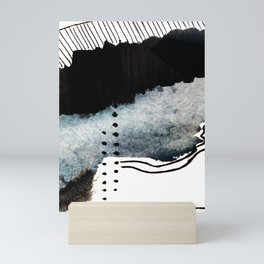 Closer - a black, blue, and white abstract piece Mini Art Print