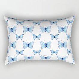 Blue Butterflies Pattern Butterfly Watercolor Rectangular Pillow