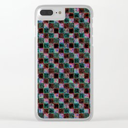 Maroon Green Multicolored Patchwork Clear iPhone Case