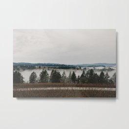 Clouds of fog amongst the trees in Willamette Valley, Oregon Metal Print