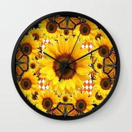 BLACK & MONARCH BUTTERFLIES & YELLOW SUNFLOWERS Wall Clock