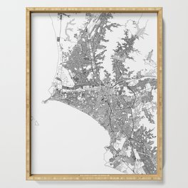 Lima White Map Serving Tray