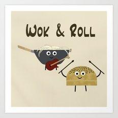 Wok & Roll (with hair) Art Print