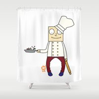 chef Shower Curtains featuring THE CHEF!! by Riot Clothing