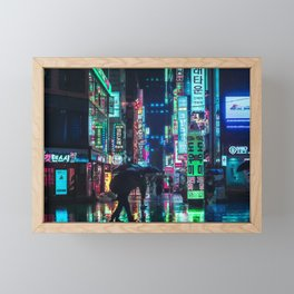 Neon in the Night Framed Mini Art Print