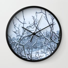 Winter snowy branches Wall Clock
