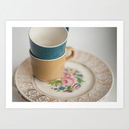 Vintage Tea Cups and Plates Art Print