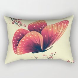 Butterfly and cherry blossoms Rectangular Pillow