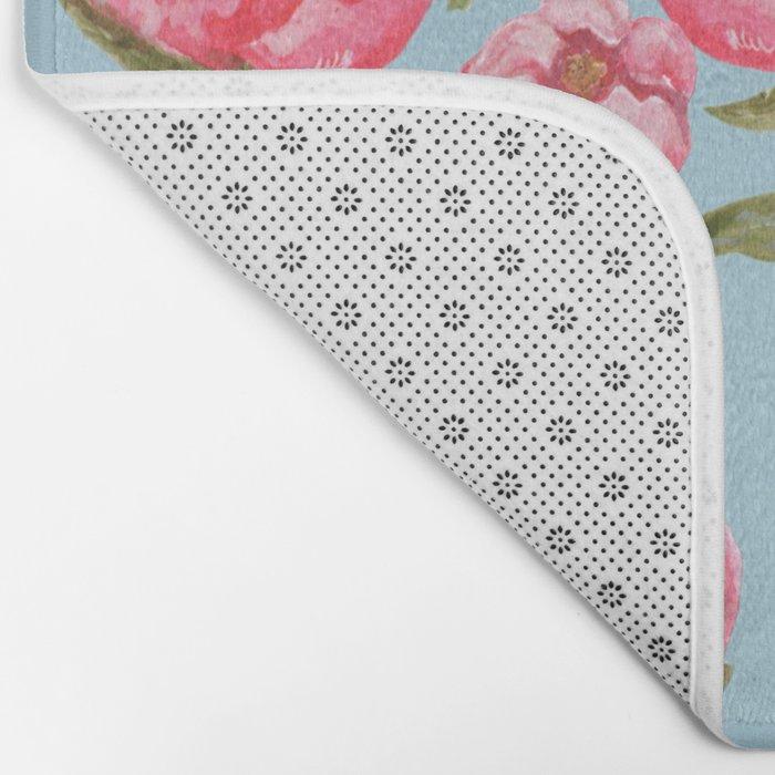 Pink Peonies On Blue Background Bath Mat