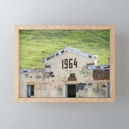 1964. Buildings of the old abandoned mercury mine Aktash. Altai Mountains, Siberia, Russia. Framed Mini Art Print