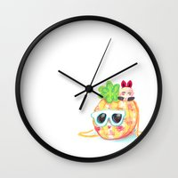 shinee Wall Clocks featuring SHINee Pinee Onew by sophillustration