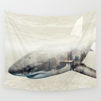 sharks Wall Tapestries featuring Sharks of New York by Vin Zzep