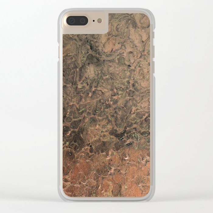 Copper Black Gold Marble Canvas Texture Clear iPhone Case