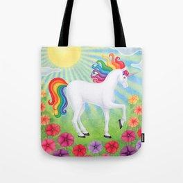daydreamer (rainbow unicorn), sunshine, petunias Tote Bag
