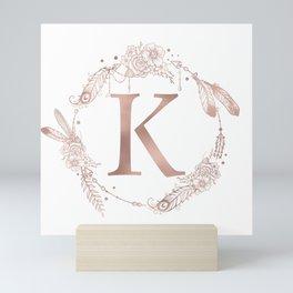 Letter K Rose Gold Pink Initial Monogram Mini Art Print