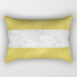 Gold Glitter & Marble Stripes | Digital Design | Pattern Rectangular Pillow