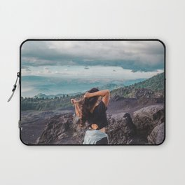 Young brunette woman lets down with long hair at the end of a hike on Pacaya Volcano, Guatemala Laptop Sleeve