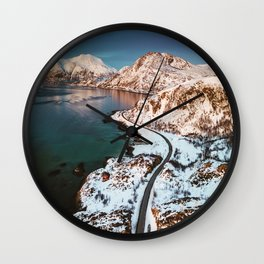 aerial view of the lofoten islands in norway Wall Clock