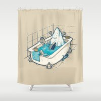 bath Shower Curtains featuring BATH TIME by Letter_q