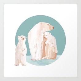 Snowy Cuddles Art Print