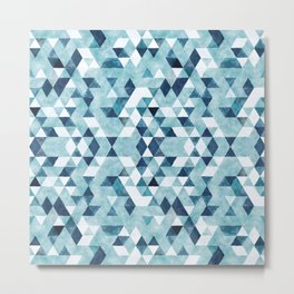 Indigo Blue Watercolor Triangles Pattern Metal Print