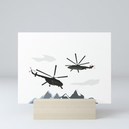Black Helicopters in the Mountains Mini Art Print