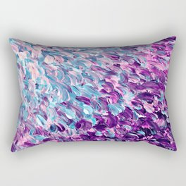 FROSTED FEATHERS 1 Colorful Lavender Purple Lilac Serenity Rose Quartz Ombre Ocean Splash Abstract Rectangular Pillow