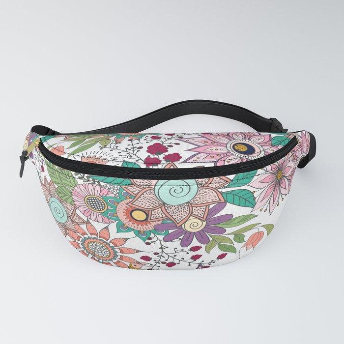 Stylish floral doodles vibrant design Fanny Pack