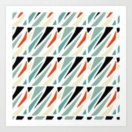 Abstract geometrical black red green triangles modern pattern Art Print