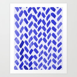 Cute watercolor knitting pattern - blue Art Print
