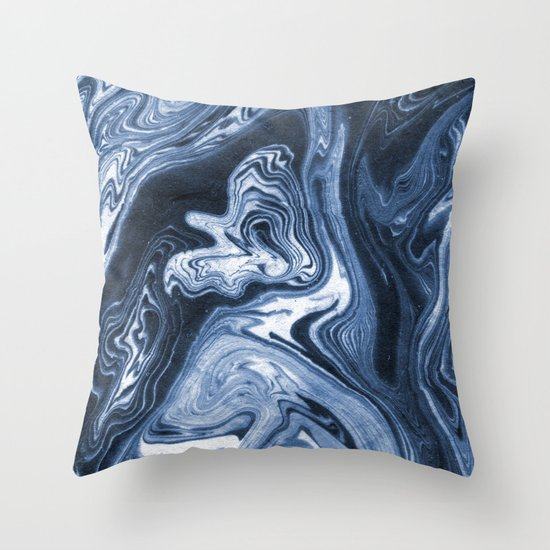 Ren - indigo ink india ink marble pattern texture art print cell phone case with marble blue joy Throw Pillow