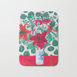 Tropical Lily Bouquet in Delft Vase with Matisse Leaf Cutout Background Bath Mat