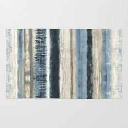 Distressed Blue and White Watercolor Stripe Rug