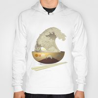 ramen Hoodies featuring The Great Ramen Wave by Sheharzad