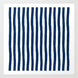 Navy and White Cabana Stripes Palm Beach Preppy Art Print