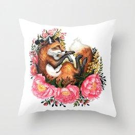 Flora and Fauna Fox Throw Pillow