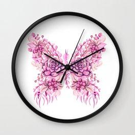 Flowery Pink Princess Butterfly Wall Clock