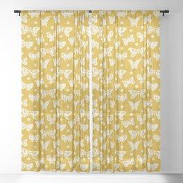Butterflies on Mustard Sheer Curtain