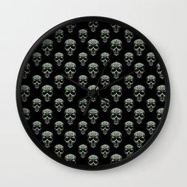 Skulls Motif Print Pattern Wall Clock