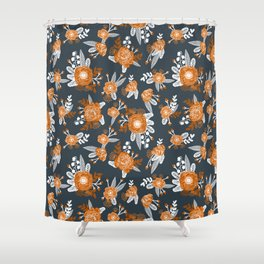 Texas longhorns orange and white university college texan football floral pattern Shower Curtain