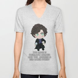 The name is Sherlock Holmes and the address is 221B Baker Street Unisex V-Neck