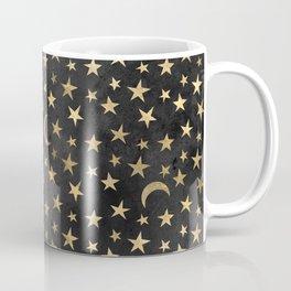 Dark Gold Moon & Stars Coffee Mug