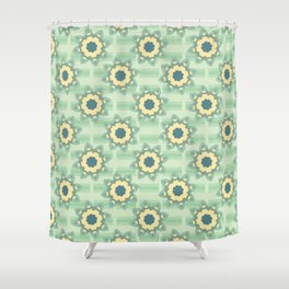 Spring Flower Motif Daisy Style Seamless Shower Curtain