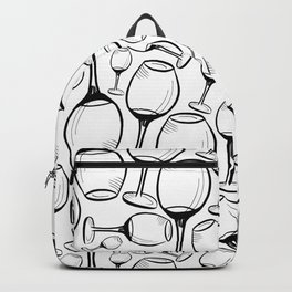 Print with wine glasses. Drawn wine glasses, sketch style. Black on white Backpack