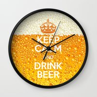 beer Wall Clocks featuring Beer by Text Guy