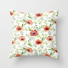 Red bouquet. Watercolor pattern Throw Pillow