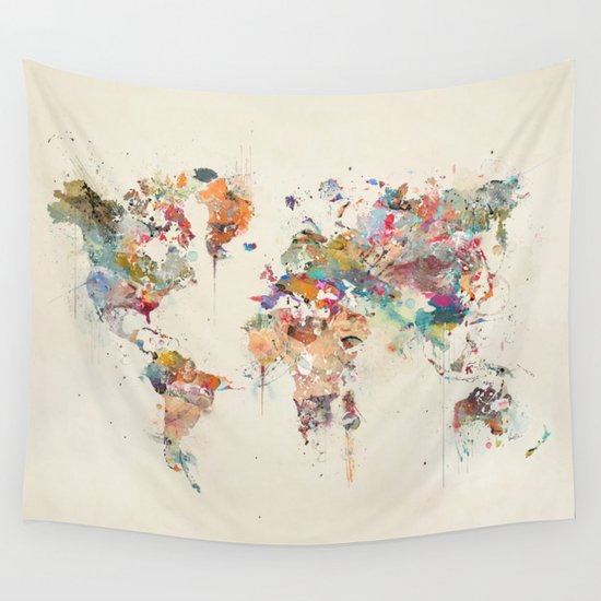 World map in watercolour gallery diagram writing sample and guide world map watercolour wall tapestry by bribuckley society6 world map watercolour wall tapestry sciox gallery sciox Image collections