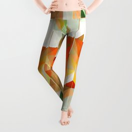 Geometric Tiled Orange Green Abstract Design Leggings